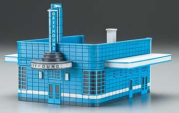 Imex Model Co Greyhound Bus Station (Assembled) -- HO Scale Model Railroad Building -- #6119