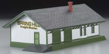 Imex Model Co Freight Station Assembled Perma-Scene -- HO Scale Model Railroad Building -- #6132