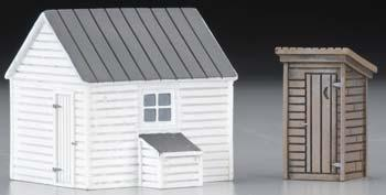 Imex Model Co Outhouse & Garage Assembled Perma-Scene -- HO Scale Model Railroad Building -- #6138