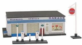 Imex Gas Station Assembled Perma-Scene N Scale Model Railroad Building #6307