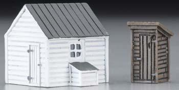 Imex Outhouse & Garage Assembled Perma-Scene N Scale Model Railroad Building #6338