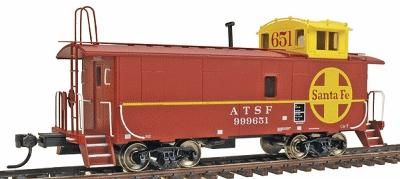 Intermountain CE-7 Caboose - Santa Fe Yellow Cupola HO Scale Model Train Freight Car #1087