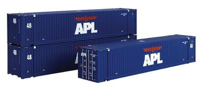 Intermountain Railway Company 48' Jindo Corrugated Container 3-Pack APL -- HO Scale Model Train Freight Car Set -- #30551