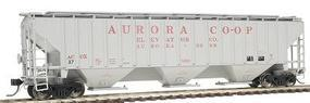 Intermountain 3-Bay 18 Rib Covered Hopper Aurora Co-Op (gray, red) HO Scale Model Train Freight Car #45356