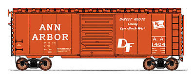 Intermountain 40 PS-1 Boxcar Ann Arbor Direct Route HO Scale Model Train Freight Car #45428