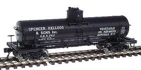 Intermountain ACF Type 27 Riveted 8000-Gallon Tank Car - Ready to Run Spencer Kellogg & Sons Inc. (black w/white lettering) - HO-Scale