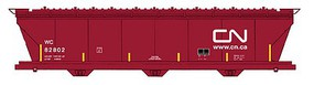Intermountain ACF 4650 Cubic Foot 3-Bay Covered Hopper - Ready to Run Canadian National WC (Boxcar Red, Noodle Logo, yellow Conspicuity Marks)