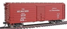 Intermountain Milwaukee Road Rib-Side 40 Boxcar - Ready to Run Milwaukee Road (Boxcar Red, Route of the Hiawathas Slogan) - HO-Scale
