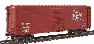 Intermountain Railway Company Milwaukee Road Rib-Side 40' Boxcar No Roofwalk - Ready to Run -- Milwaukee Road (Modern Scheme, Boxcar Red, Large Logo Only) - HO-Scale