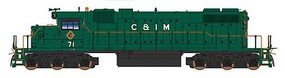 Intermountain EMD SD38-2 w/Loksound & DCC Chicago & Illinois Midland (green, red, white)