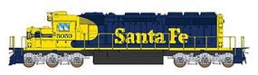 Intermountain EMD SD40-2 DC Santa Fe (Warbonnet, blue, yellow) N Scale Model Train Diesel Locomotive #69320