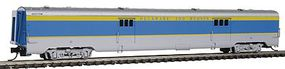 Intermountain Centralia Car Shops Streamlined Smooth-Side Baggage Car - Ready to Run Delaware & Hudson (gray, blue, yellow) - N-Scale