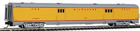 Intermountain Centralia Car Shops Streamlined Smooth-Side Baggage Car - Ready to Run Milwaukee Road (Post-1956 UP Streamliner Scheme, Armour Yellow, gray) - N-Scale
