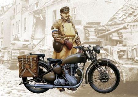Italeri WWII Triumph 3WH Motorcycle -- Plastic Model Motorcycle -- 1/9 Scale -- #07402