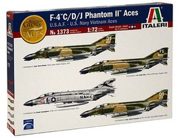 Italeri F-4 C/D/J Phantom USAF/Navy/Vietnam Aces Plastic Model Airplane Kit 1/72 Scale #1373s