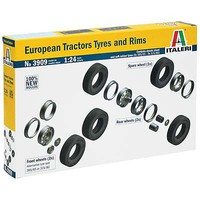 Italeri European Tractor Tires and Rims Plastic Model Tire Wheel 1/24 Scale #3909s