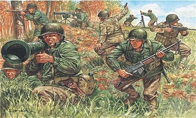 Italeri WWII US Infantry 2nd Division -- Plastic Model Military Figure Kit -- 1/72 Scale -- #556046