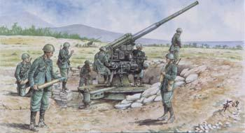 Italeri Italian WWII 90/53 Gun with Crew -- Plastic Model Military Figure Kit -- 1/72 Scale -- #556122