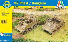 Italeri M7 Priest 105mm/Kangaroo (2pcs) Plastic Model Military Vehicle Kit 1/72 Scale #557513