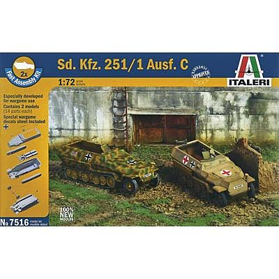 Italeri Sd.Kfz.251/1 Ausf.C Personnel Carrier -- Plastic Model Military Vehicle Kit -- 1/72 Scale -- #7516s