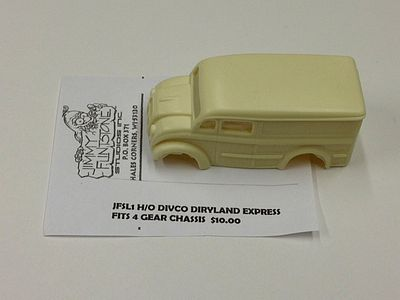 Jimmy Flintstone Divco Dairyland Express Body for 4-Gear Chassis -- Resin Slot Car Body -- HO Scale -- #sl1