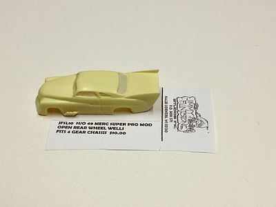 Jimmy Flintstone 1949 Mercury Super Pro Mod Body -- Resin Slot Car Body -- HO Scale -- #sl10
