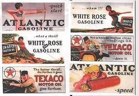 JL Vintage Gas Station/Oil Signs (6) 1920s Model Railroad Billboards HO Scale #162