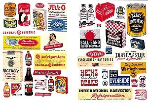 JL Household Posters & Signs of the 1940s and 1950s Model Railroad Billboards HO Scale #182