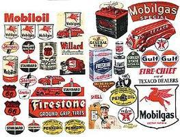 JL Gas Station & Oil Posters 1940s and 1950s Model Railroad Billboards HO Scale #184