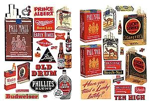 JL Alcohol & Tobacco & Chewing Gum 1940s and 1950s Model Railroad Billboards HO Scale #185