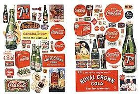 JL Vintage Soft Drink Signs 1930's to 1960's Model Railroad Billboards HO Scale #197