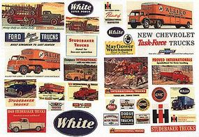 JL Vintage Truck Signs 1940s to 1950s Model Railroad Billboard HO Scale #243