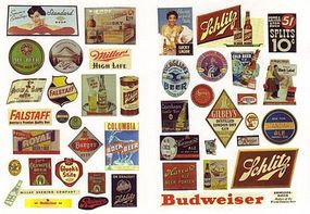 JL Vintage Beer & Alcohol Signs Model Railroad Building Accessories HO Scale #263