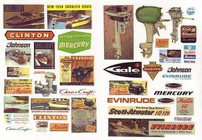 JL Vintage Marine Boat & Motor Signs Model Railroad Building Accessories HO Scale #264