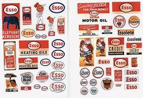 JL 1940s-1950s Vintage Gas Station Signs Esso Model Railroad Billboard HO Scale #293