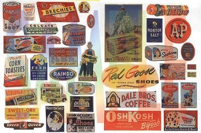 JL Vintage Food/Household Signs Model Railroad Billboard HO Scale #426