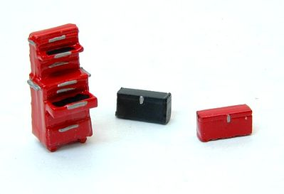 JL Innovative Design Custom Tool Boxes & Chest (3) -- Model Railroad Building Accessory -- HO Scale -- #433