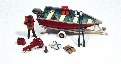 JL Innovative Design Deluxe Boat, Motor, Trailer w/Marine Accessories -- Model Railroad Vehicle -- HO Scale -- #456