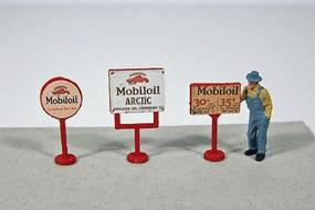 JL Vintage Mobil Gas Station Curb Signs (3) Model Railroad Billboard HO Scale #463