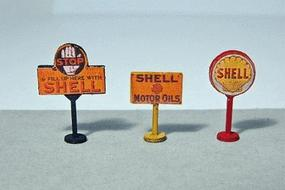 JL Vintage Shell Gas Station Curb Signs (3) Model Railroad Billboard HO Scale #464
