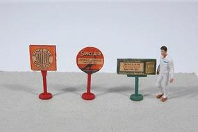 JL Vintage Sinclair Gas Station Curb Signs (3) Model Railroad Billboard HO Scale #466