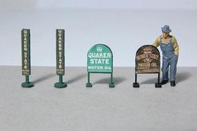 JL Vintage Quaker State Gas Station Curb Signs (4) Model Railroad Billboard HO Scale #472