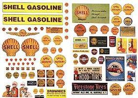 JL Vintage Shell Gas Station Posters/Signs Model Railroad Billboard HO Scale #488