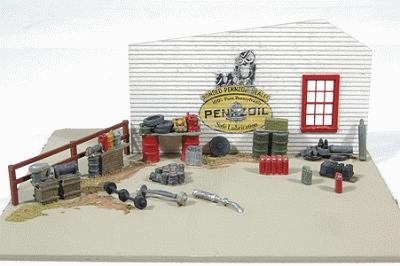 JL Gas Station Stacks of Stuff & Junk Detail Model Railroad Building Accessory HO Scale #497