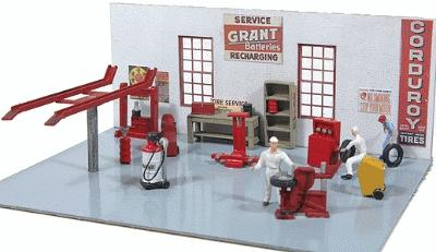 JL Innovative Design Gas Station Interior Equipment & Tool Set -- Model Railroad Building Accessory -- HO Scale -- #498