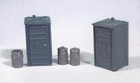 JL Port-a-Potty Set(2) Garbage Cans(3) Model Railroad Building Accessory HO Scale #499