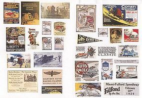 JL Vintage Racing & Speedway Signs Set 2 1920s to 1940s Model Railroad Billboard HO Scale #549