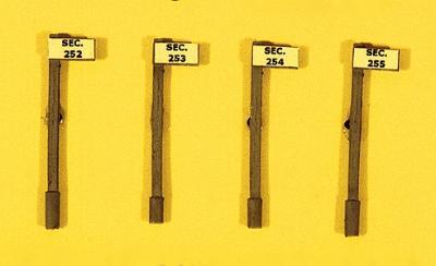 JL Custom Section Sign Set/Pole Style (4) Model Railroad Trackside Accessory HO Scale #835