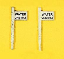 JL Custom Water 1-Mile Sign Set (2) - Model Railroad Trackside Accessory HO Scale #836