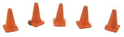 JL Custom Highway Cones Painted Orange (5) Model Railroad Road Accessory HO Scale #898